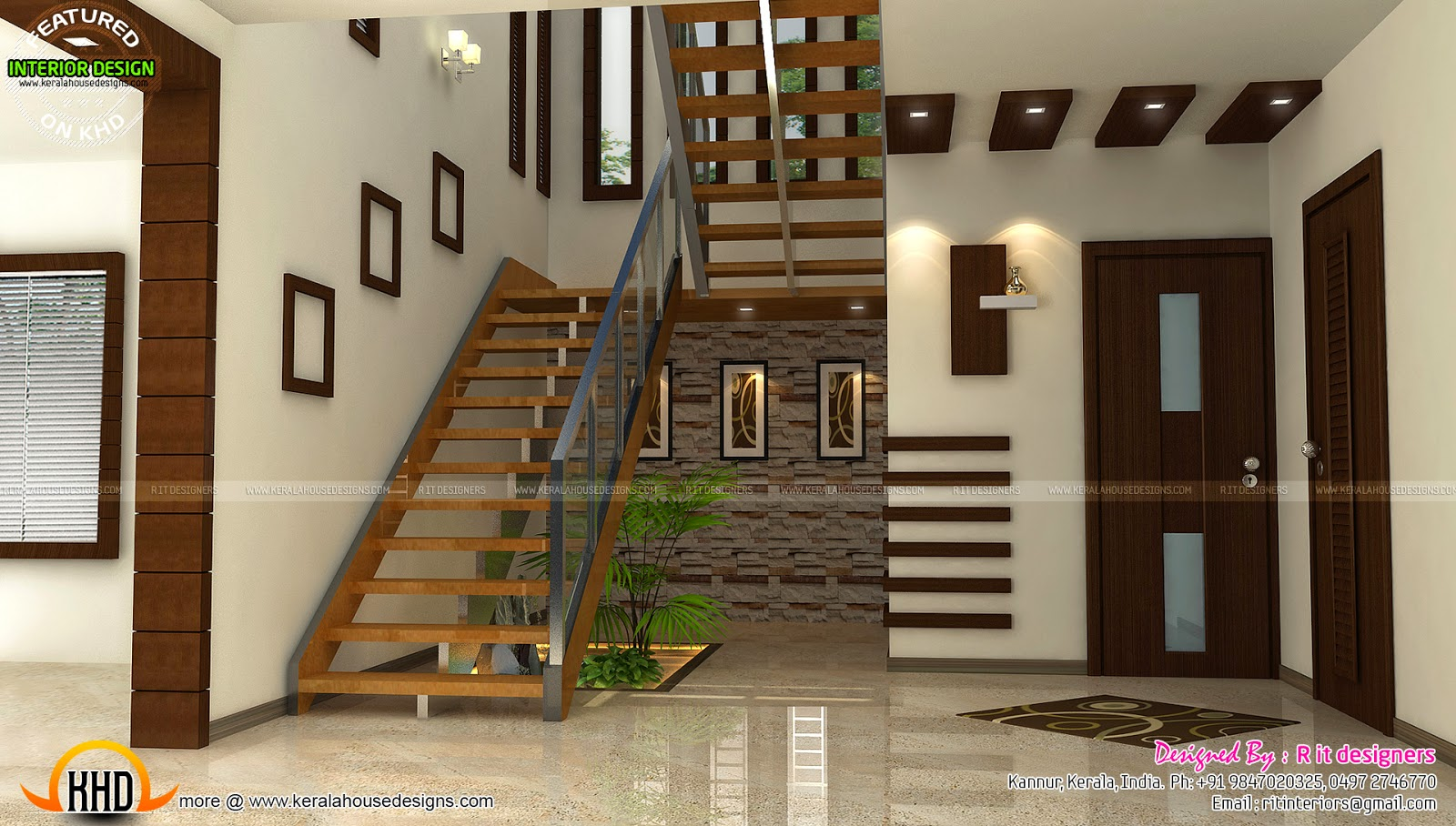 Staircase bedroom dining interiors kerala home design for House plans with interior photos