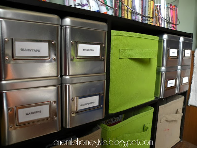 Art Supply Organization using boxes and cubbies