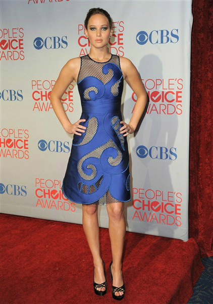 Jennifer Lawrence People's Choice Awards Blue cutwork mesh dress