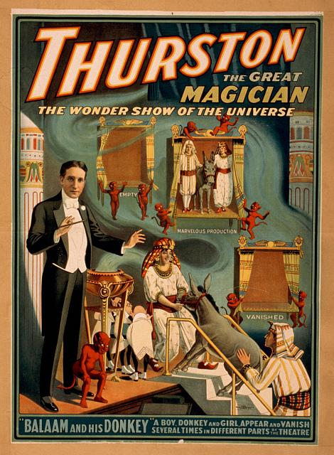 circus, classic posters, free download, graphic design, magic, movies, retro prints, theater, vintage, vintage posters, Thurston the Great Magician, The Wonder Show of the Universe - Vintage Magic Poster