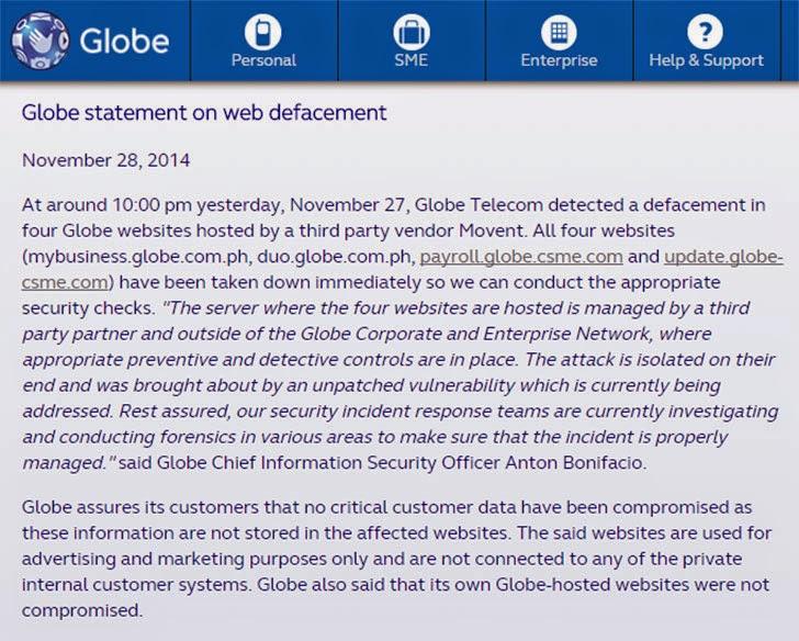 Globe statement on web defacement