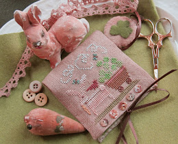 Shamrock Bunny Needle Case and Scissor Fob - $7.50