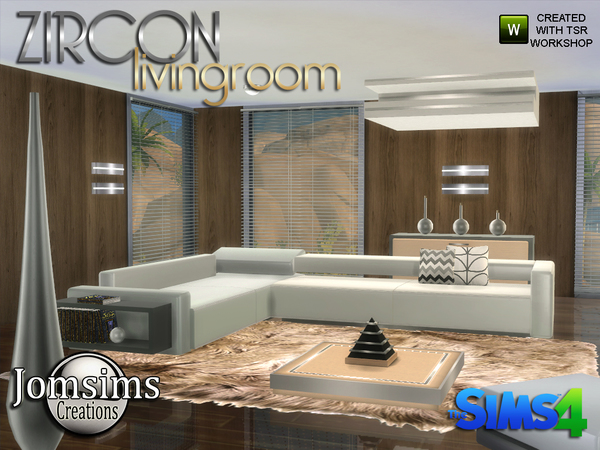 My sims 4 blog zircon modern living room by jomsims for Modern living room sims 4