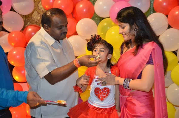 Radhika Kumarswamy and husband HD Kumarswamy at Daughter Birthday Celebration