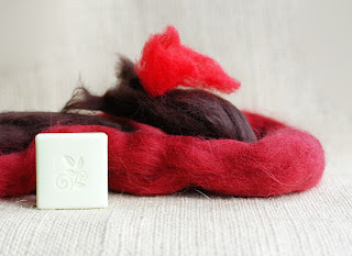 red burgundy felting wool