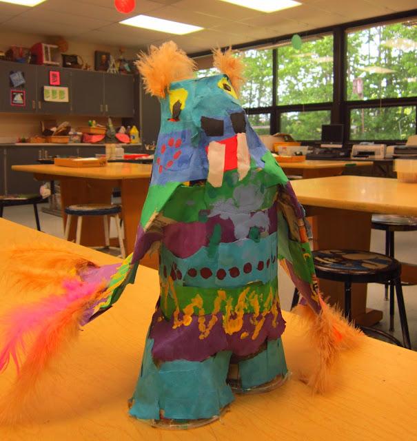 4th grade art, paper mache