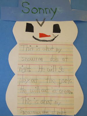 photo of: snowman art project, snowman writing in kindergarten