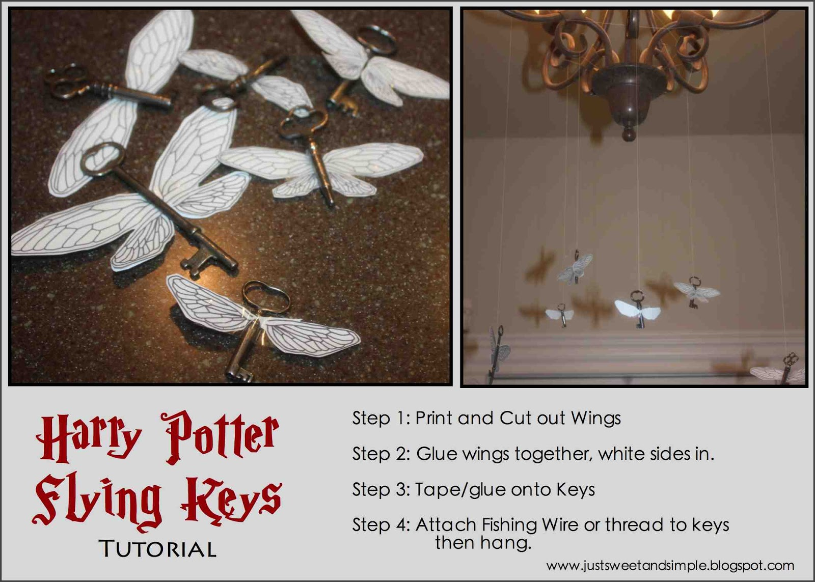 just Sweet and Simple: Harry Potter Flying Key Tutorial