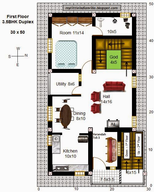 My little indian villa 43 r36 3 5bhk duplex in 30x50 for Home plans for 20x30 site