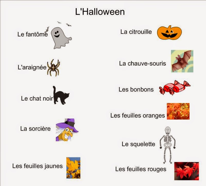 here are some vocabulary words that we have been working on in october your child should know some of these words in french some children might even know - Halloween Vocab Words