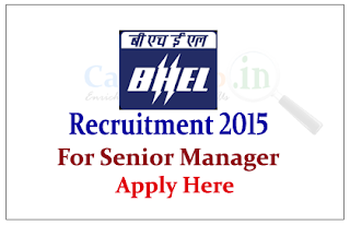 Bharat Heavy Electricals Limited (BHEL) Recruitment 2015 for the post of Senior Manager