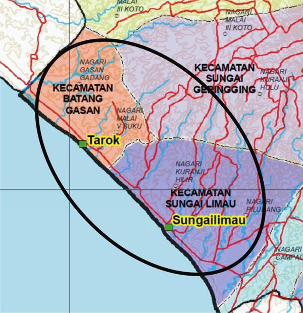 Peta posisi kecamatan sungai limau kabupaten padang pariaman