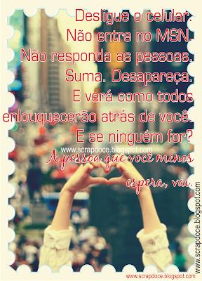 Foto Mensagem sobre Sumir/Ignorar/Conselhos/Frases para Compartilhar no Facebook
