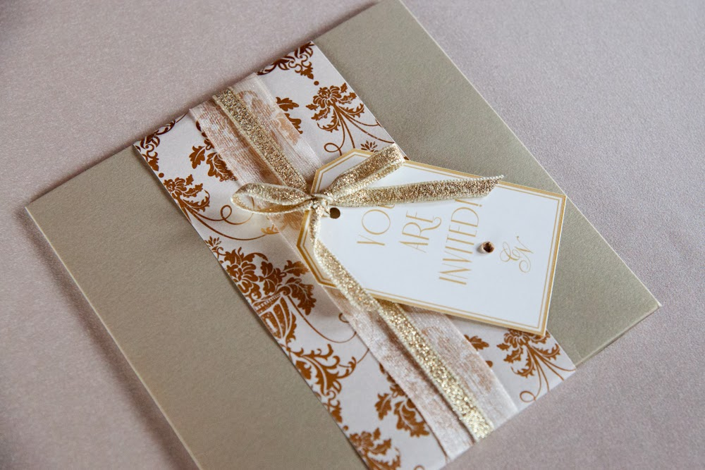 Golden glamour wedding invitation for a styled shoot by Weddings by Sophie