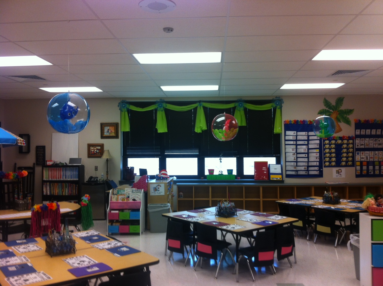 View From The Front Of Classroom Pods Are Team Whale Sea Horse And Frog See Beach Balls Above Tables Kids Sure Did