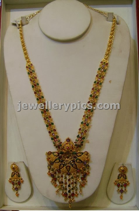 long haram design at srimahalaxmi jewellers with enamel