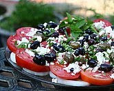 Tomato Platter with Olives & Feta (A Veggie Venture)