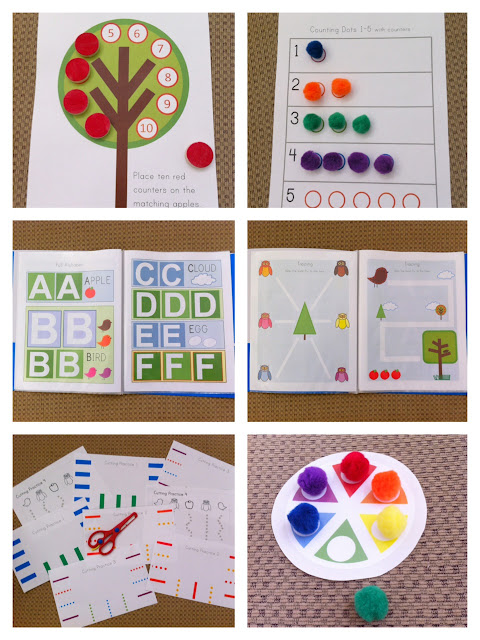 trace count dry erase markers counters colors shapes pre-k owls birds trees