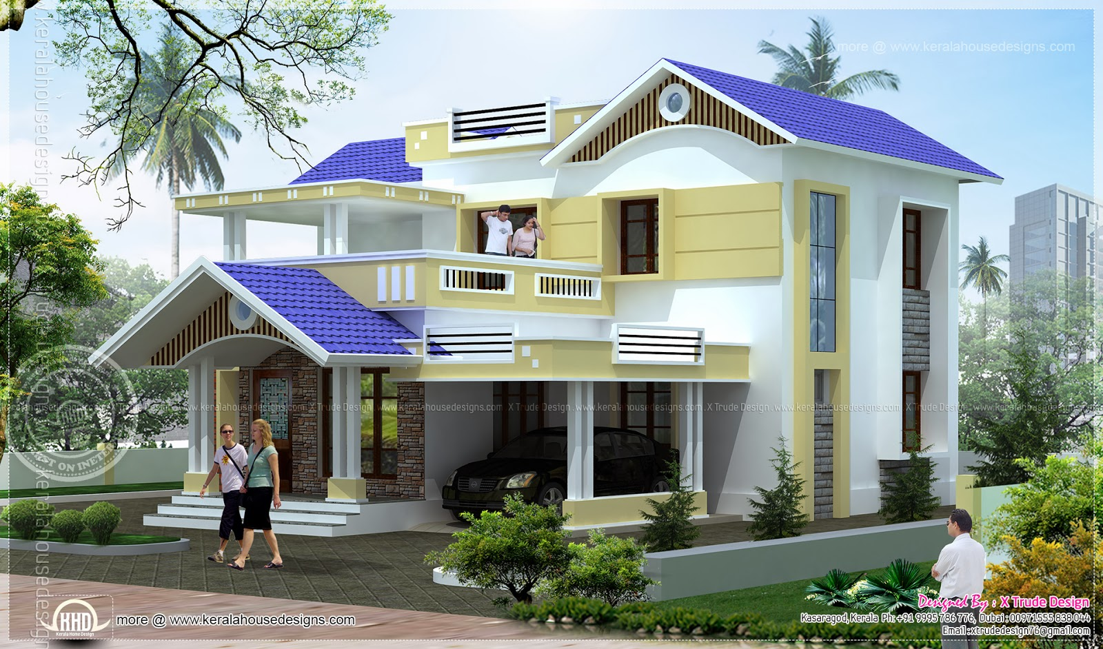 4 bedroom 1924 square feet house elevation kerala home for Khd home elevation