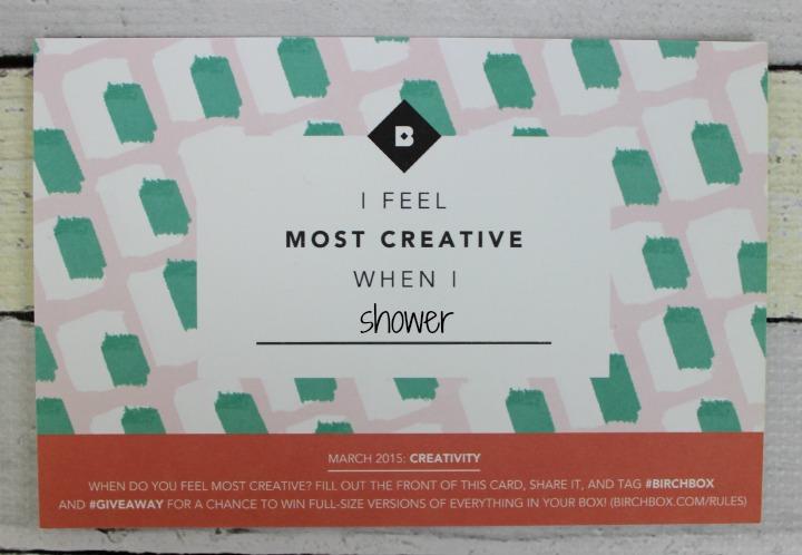 Birchbox March 2015: Creativity info card