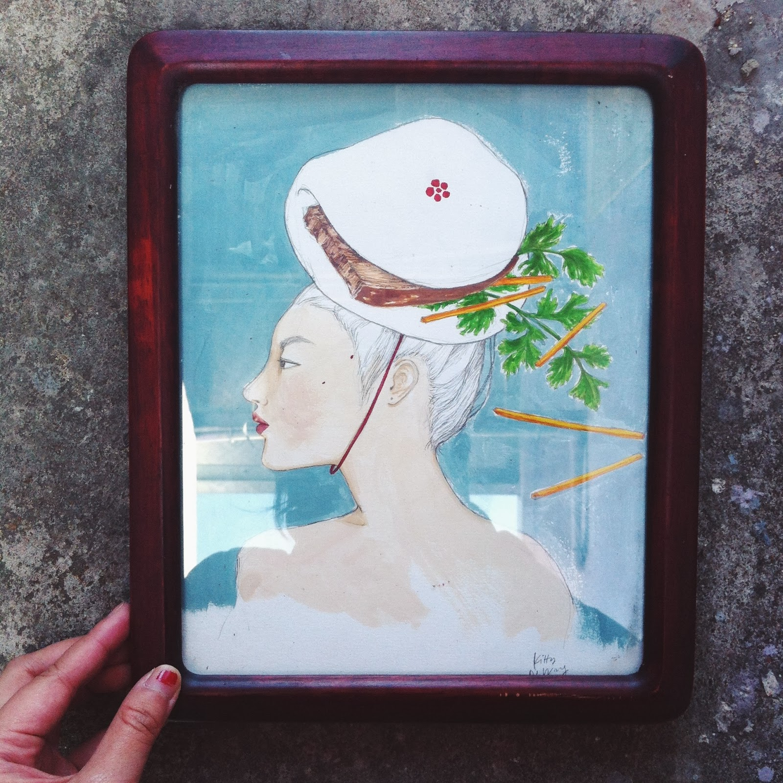 Kitty N. Wong / Madame Bao gouache painting in vintage frame