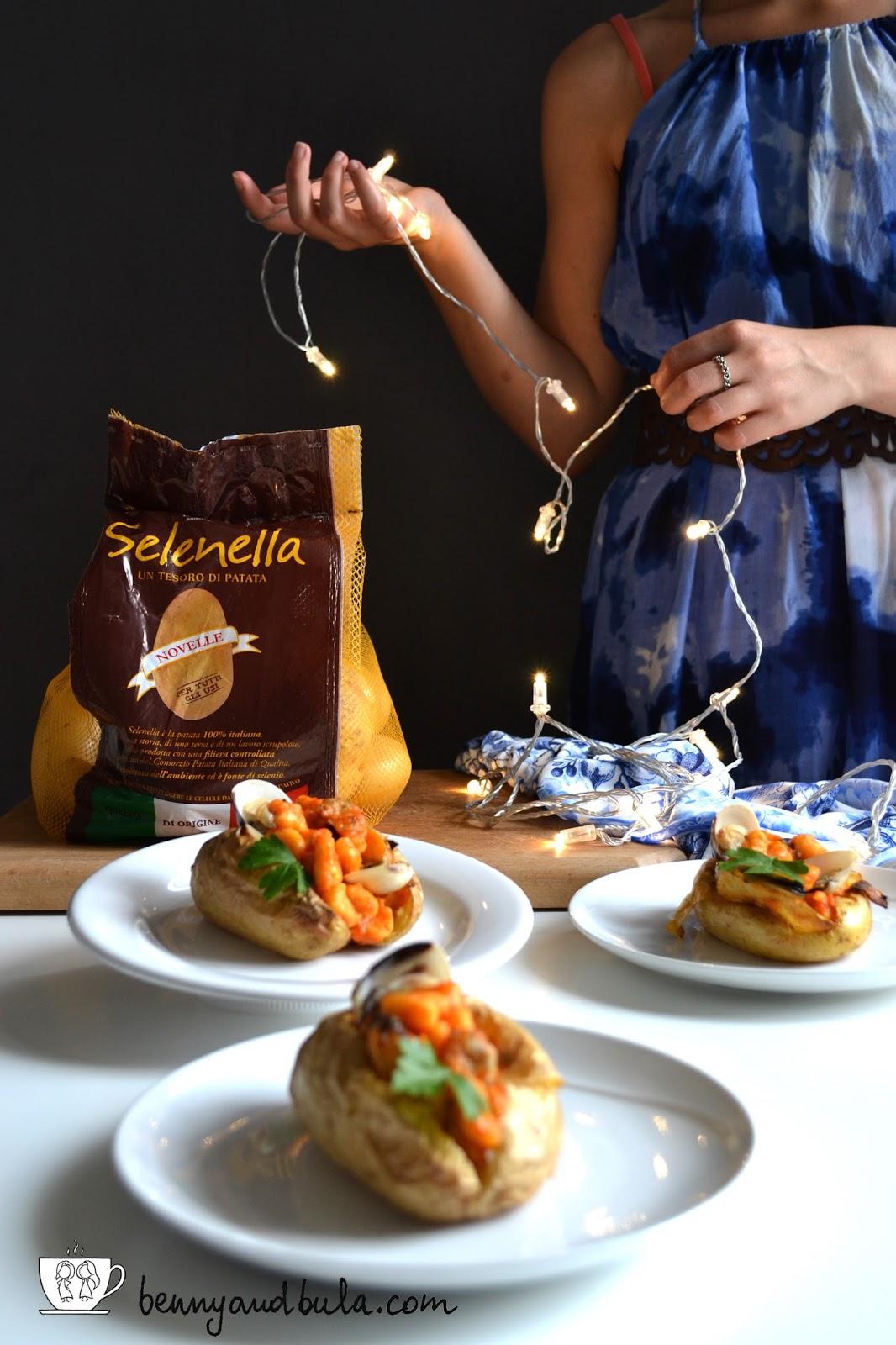 jacket potato con gnocchi di farina di ceci ai frutti di mare senza glutine/ seafood gluten-free