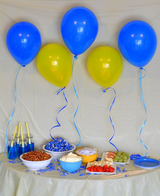yellow blue decor food for minions movie night party