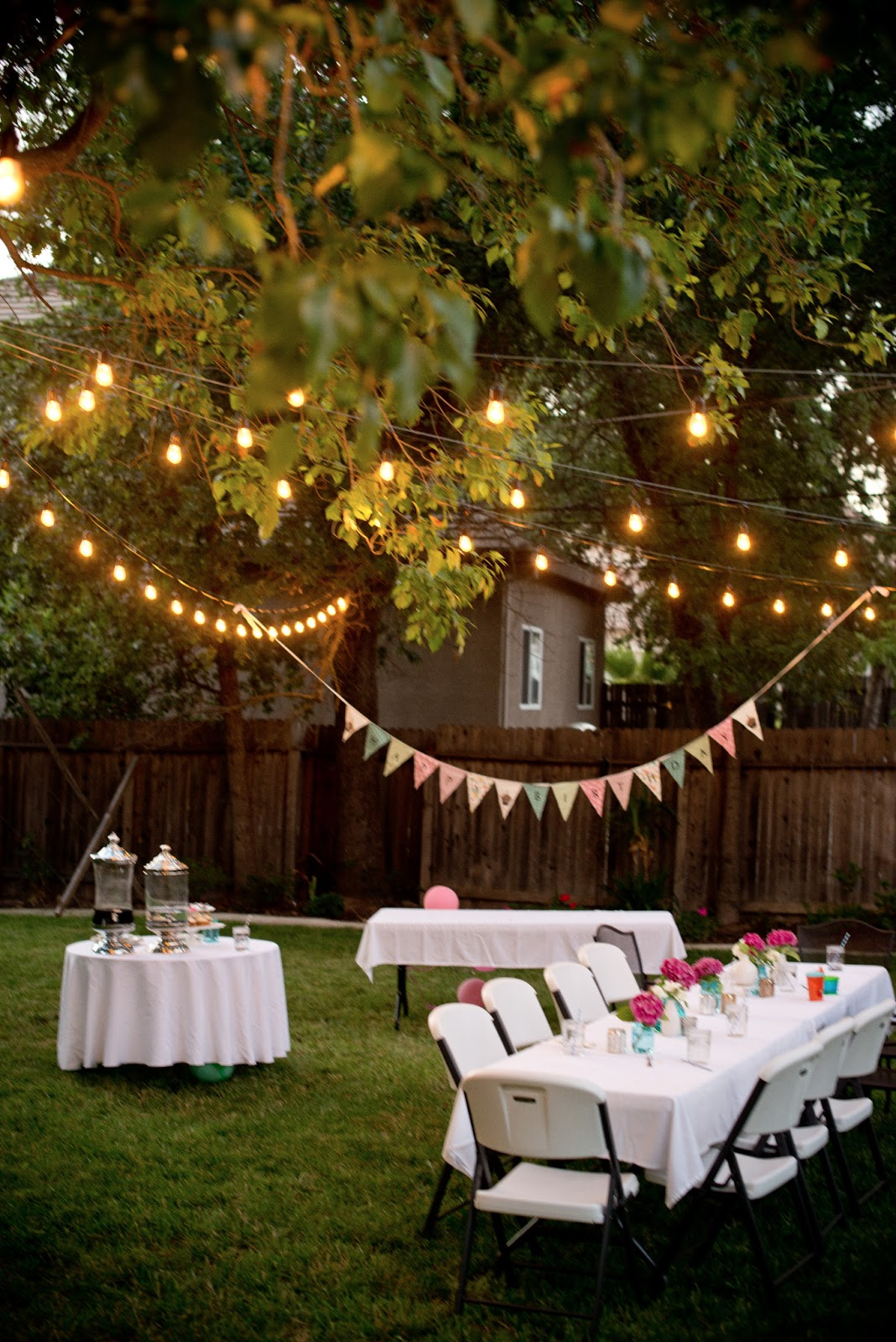 Lighting For Backyard Party : Domestic Fashionista Backyard Birthday FunPink Hydrangeas + Polka