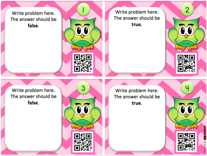 flapjack educational resources editable owl qr code task cards template freebie. Black Bedroom Furniture Sets. Home Design Ideas