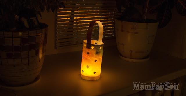 фонарик из промасленной акварельной бумаги в темноте