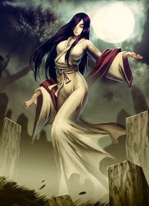 Los yūrei son fantasmas japoneses. Como sus similares occidentales, se piensa que son espíritus apartados de una pacífica vida tras la muerte debido a algo que les ocurrió en vida, falta de una ceremonia funeraria adecuada, o por cometer suicidio. Usualmente aparecen entre las dos de la madrugada y el amanecer, para asustar y atormentar a aquellos que les ofendieron en vida, pero sin causar daño físico. Tradicionalmente, son femeninos, y están vestidos con una mortaja, un kimono funerario, blanco y abrochado al revés. Normalmente carecen de piernas y pies, y frecuentemente están acompañados por dos fuegos fatuos, de colores azul, verde o púrpura. Son representados con cabello largo y negro.
