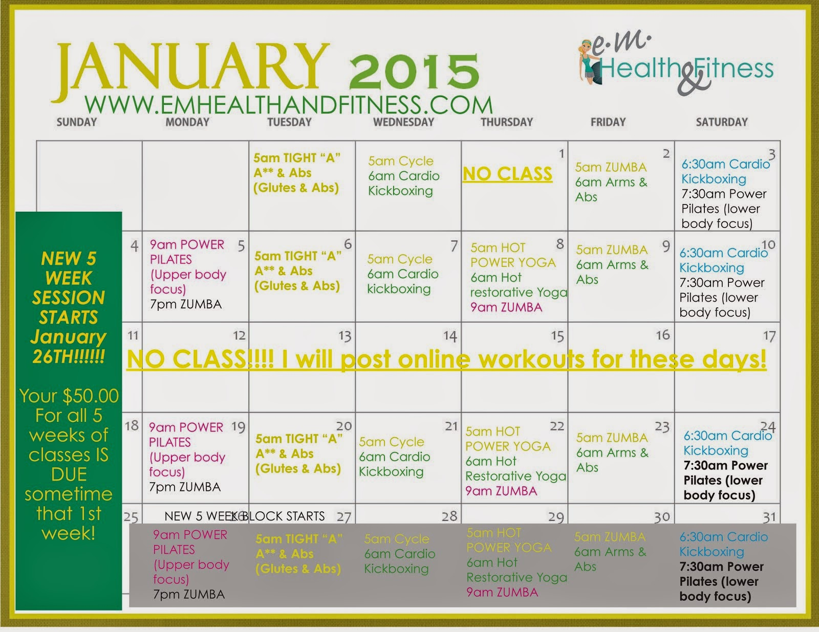 January Group fitness class schedule