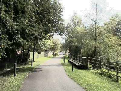 Cycle path at old coal mining town, Radstock, where the railway used to be