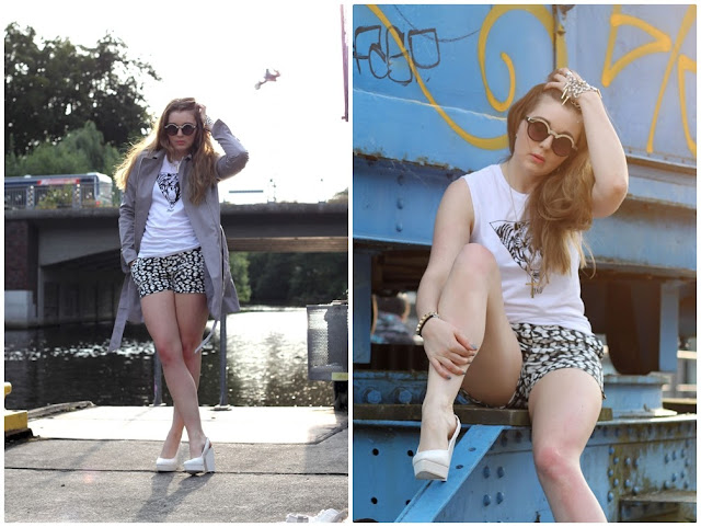 oliva palermo, printed shorts, diane kruger, H&M, das goldene Taxi, overdivity, tiger, shirt, miau, monki, sunglasses