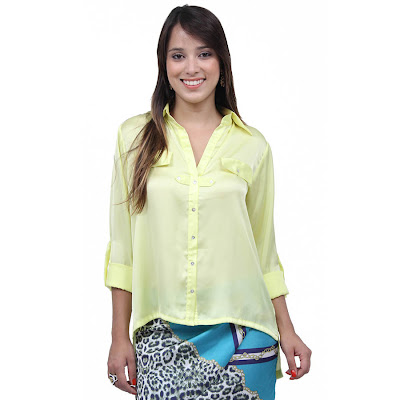 Blusas de Cetim amarela