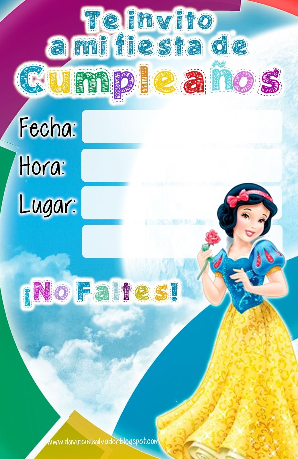 Invitación de Cumpleaños de Princesas Disney Blanca Nieves
