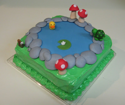 Pond Cake with Animals and Mushrooms - Angled View