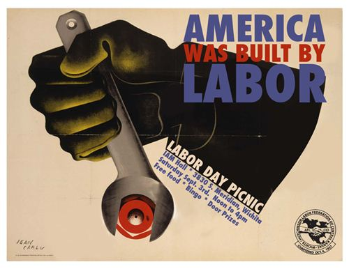 Top Labor Day Posters Images: A Hand Hold Wrench With Slogan America Was Built By Labor On Labor Day Poster Preview