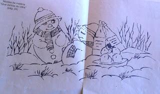 Risco para pintura em tecidos-boneco de neve