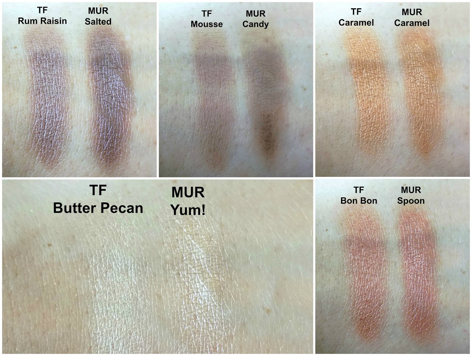 Too Faced Semi Sweet Chocolate Bar vs Makeup Revolution Salted Cramel swatches