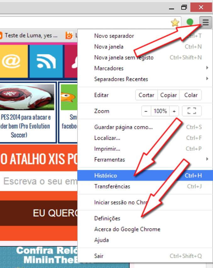 Opções Google Chrome