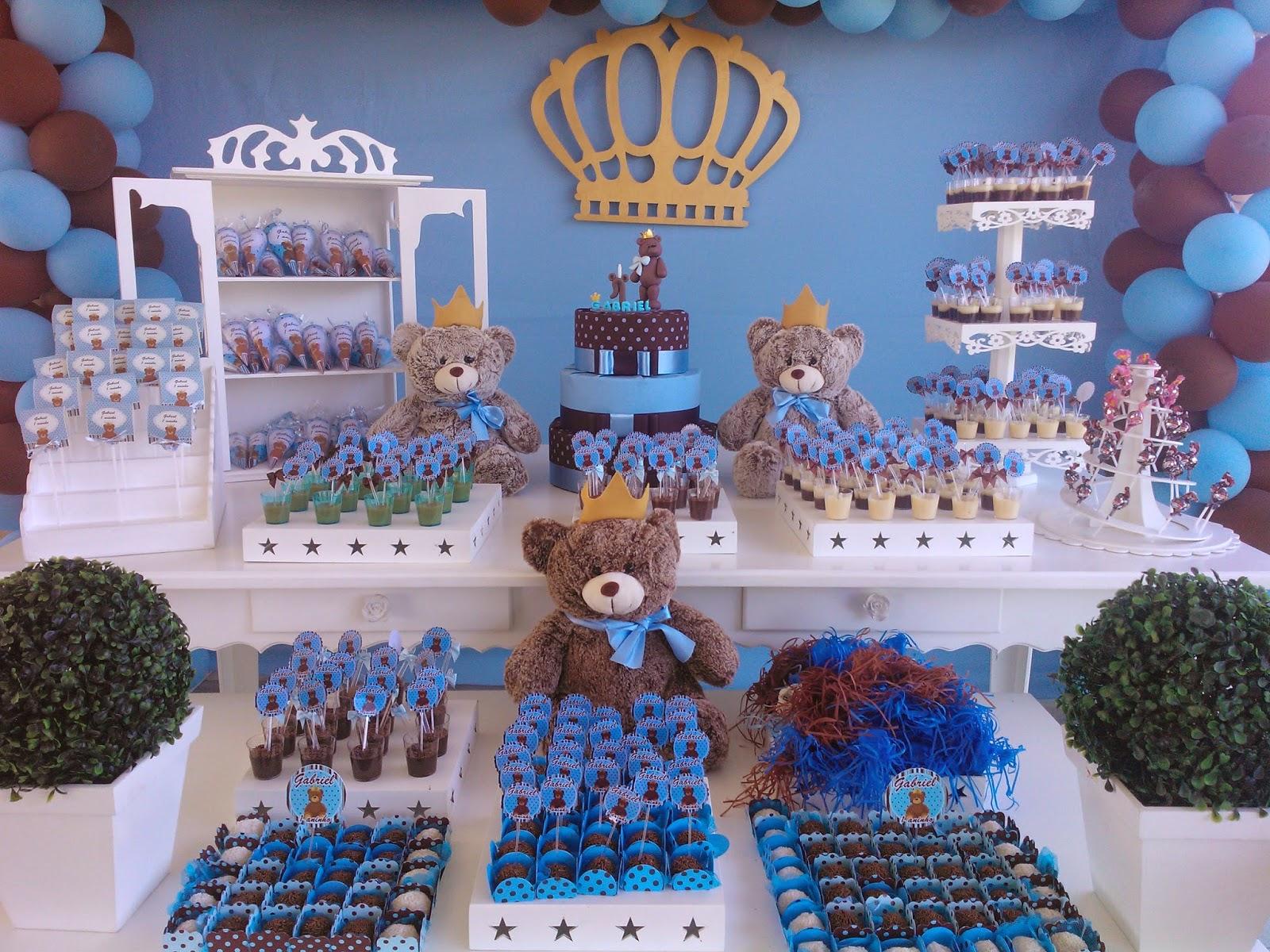 decoracao festa urso azul e marrom : decoracao festa urso azul e marrom: poá azul e marrom príncipe ursos e mais um resultado super bacana