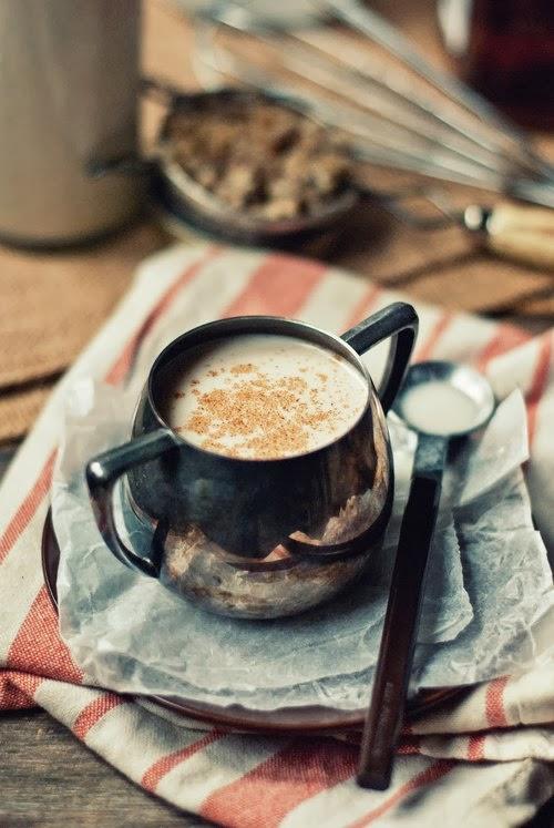 warm coconut milk with hazelnuts, honey, and bourbon