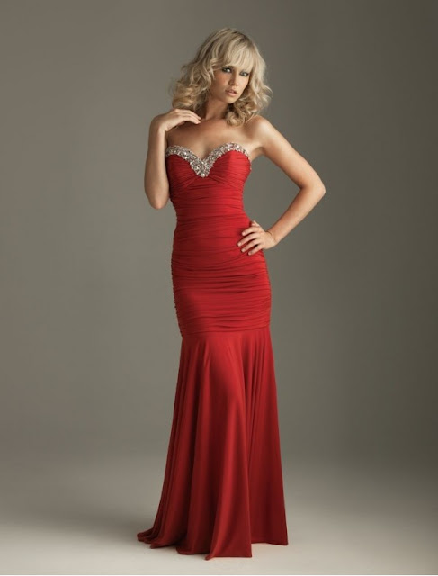 Chiffon Sweetheart Strapless Neckline Mermaid Prom Dress with Rouched Bodice