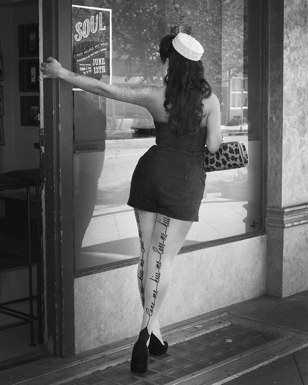 Pinup Pamela wearing the Darla Pillbox Hat by White Purl
