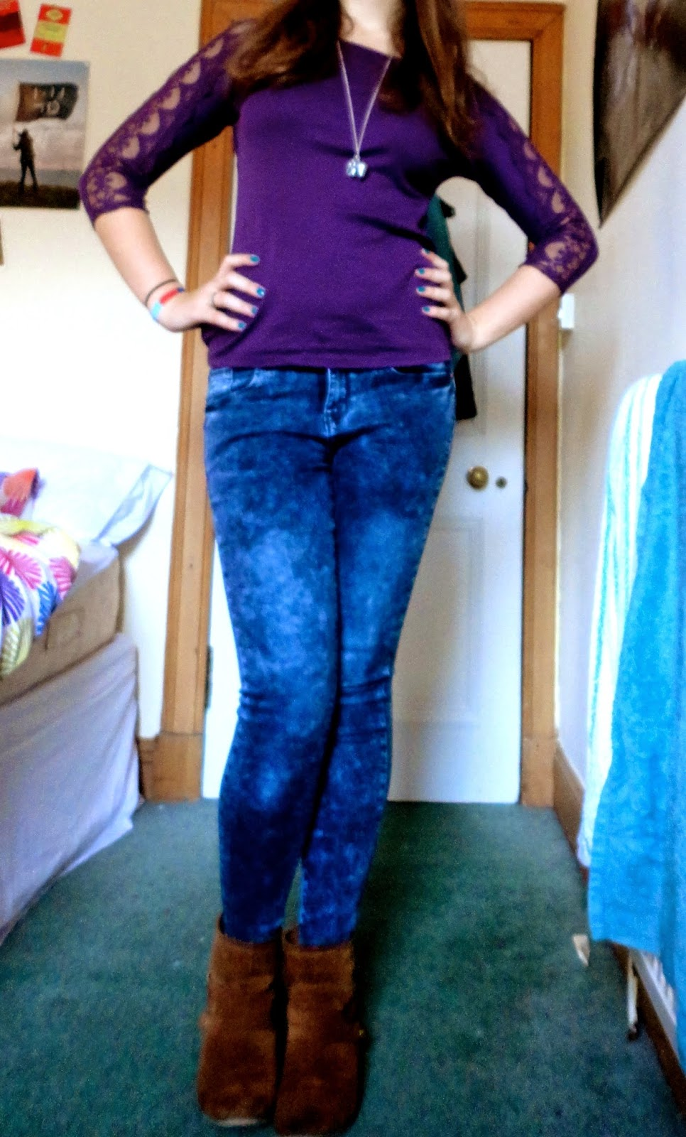 purple lace top acid wash blue jeans brown boots outfit