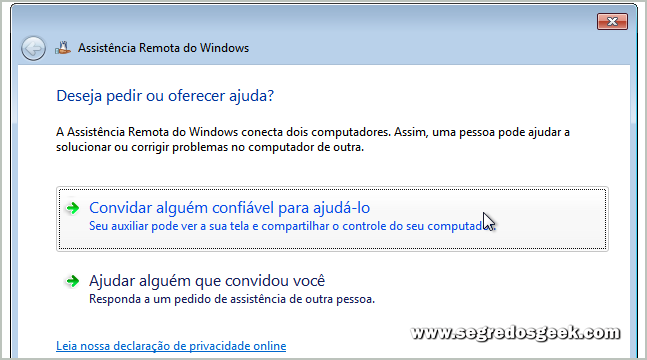 Assistência Remota do Windows 7.
