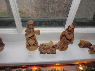 Carved African nativity set