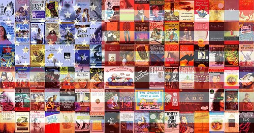 American flag made out of banned books