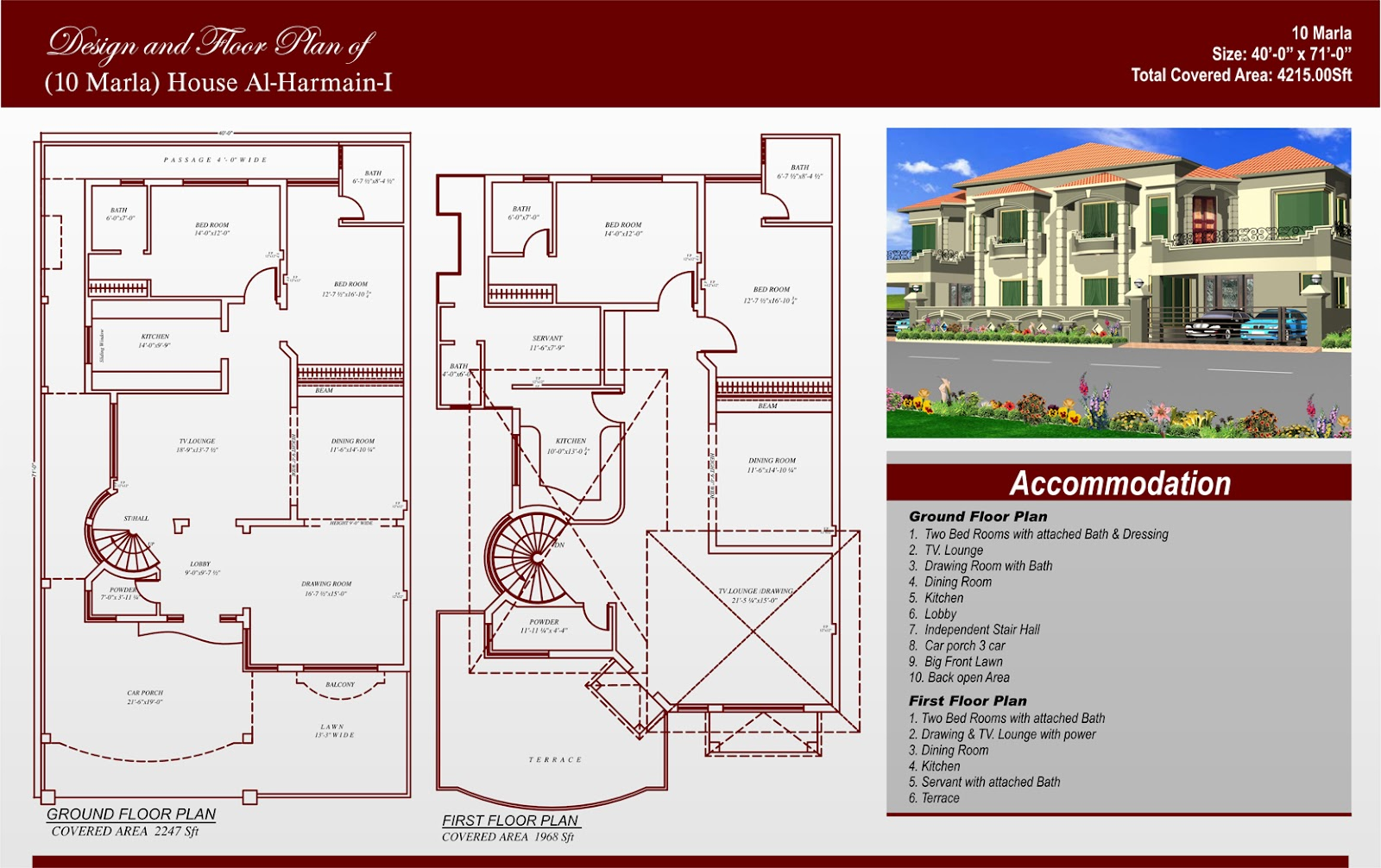 Front view homes plans in pakistan